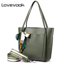 Фотография LOVEVOOK women handbag shoulder bags female messenger bag large capacity ladies casual tote bags high quality with bows Black