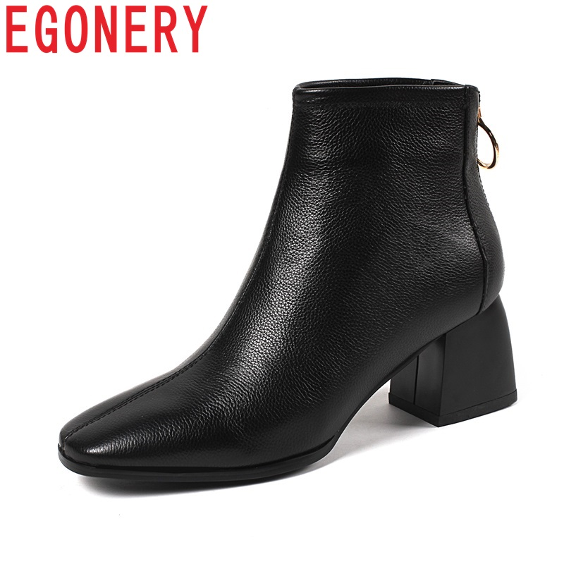 EGONERY shoes women newest hot sale fashion soft genuine leather high square heel zip square toe winter warm party ankle boots zvq 2018 winter hot sale new fashion square toe zipper high square heel genuine leather women ankle boots outside warm shoes