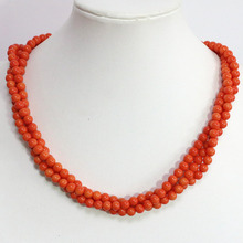 Cute design 3 rows pink orange coral necklace 6mm fashion round beads pretty party gift jewelry 18inch B1451 fast shipping stunning 8rows 6mm round crude pink coral necklace g165