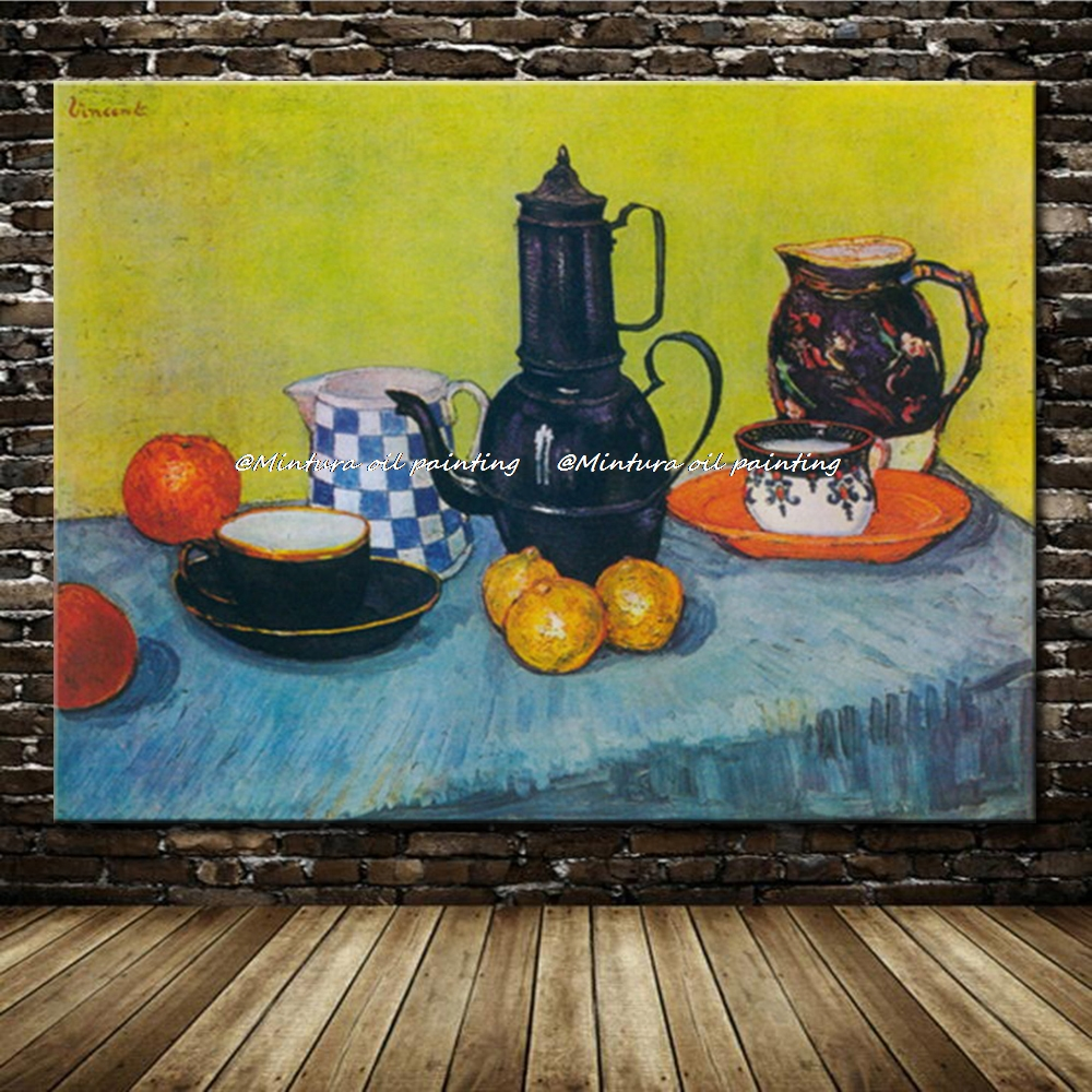 Enamel Coffeepot Earthenware And Fruit Of Vincent Van Gogh Reproduction Oil Painting On Canvas Wall Art For Home DecorEnamel Coffeepot Earthenware And Fruit Of Vincent Van Gogh Reproduction Oil Painting On Canvas Wall Art For Home Decor