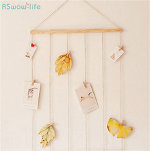 Nordic Style Simple Creative Linen Picture Wall With Clips Nails Postcards Pictured Hanging Room Decoration No String Lights DIY