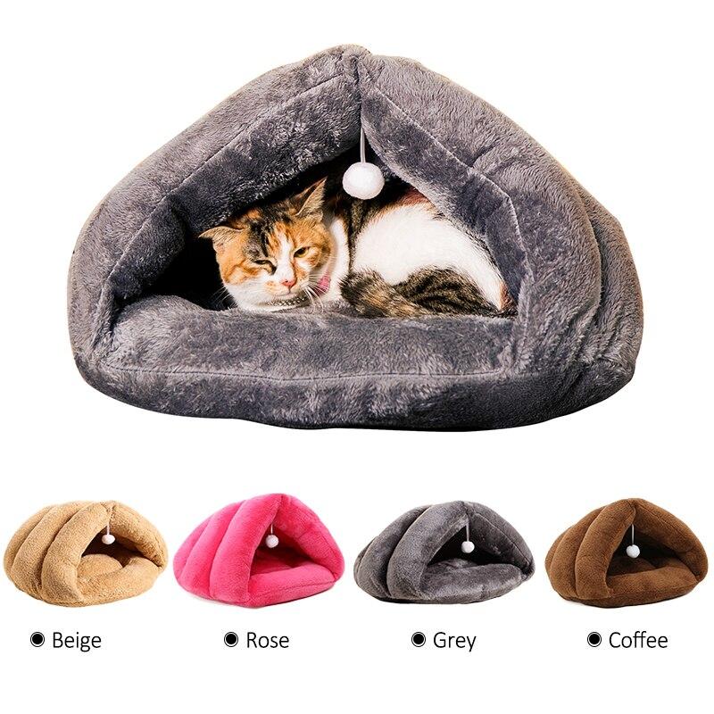 애완 동물 침대 겨울 따뜻한 소프트 고양이 침대 매트 고양이 장난감 공 매달려 고양이 집 새끼 고양이 잠자는 강아지 강아지 치와와 요크셔 작은 개 침대