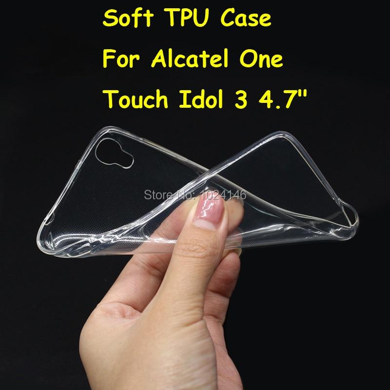 Для Alcatel One Touch Idol 3 4.7 6039Y тонкий кристалл прозрачный мягкой ТПУ задняя крышка защиты кожи