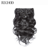 Rechoo Body Wave Indian Non Remy 2 Darkest Brown Color 100 Human Hair Clip In Extensions