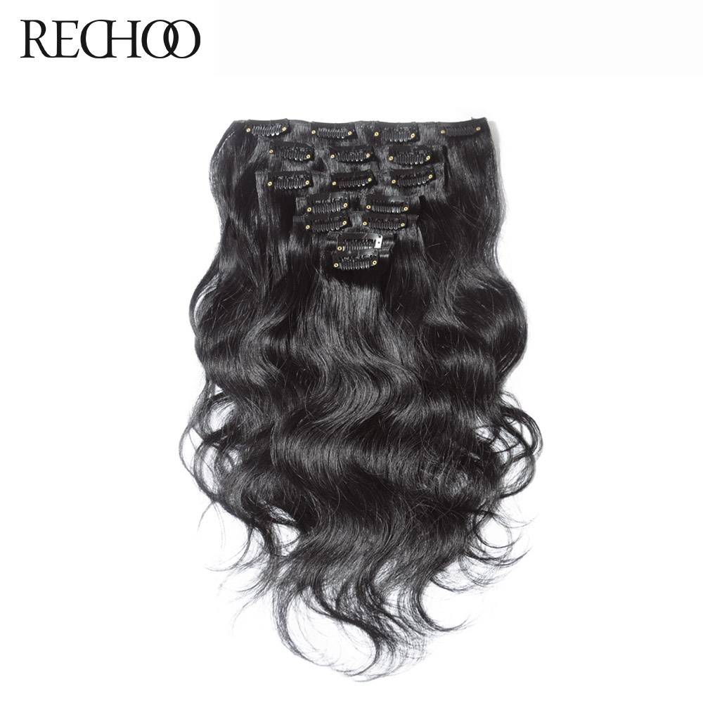 Rechoo Body Wave Machine Made Remy # 1B Farve 100% Human Hair Naturlig Klip I Udvidelser 100G 120g 18Inch 22Inch Full Head Set