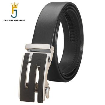 FAJARINA New Arrival Mens S LetterAutomatic Belts Smooth Genuine Surface Casual Cow Leather Belt Men 3.5cm Wide ZDFJ248