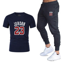 2019New running T-shirt+Pants Mens Sets Jordan 23 Print Men Brand Clothing Two piece suit Sportswear Tracksuit Gyms Jogger sets