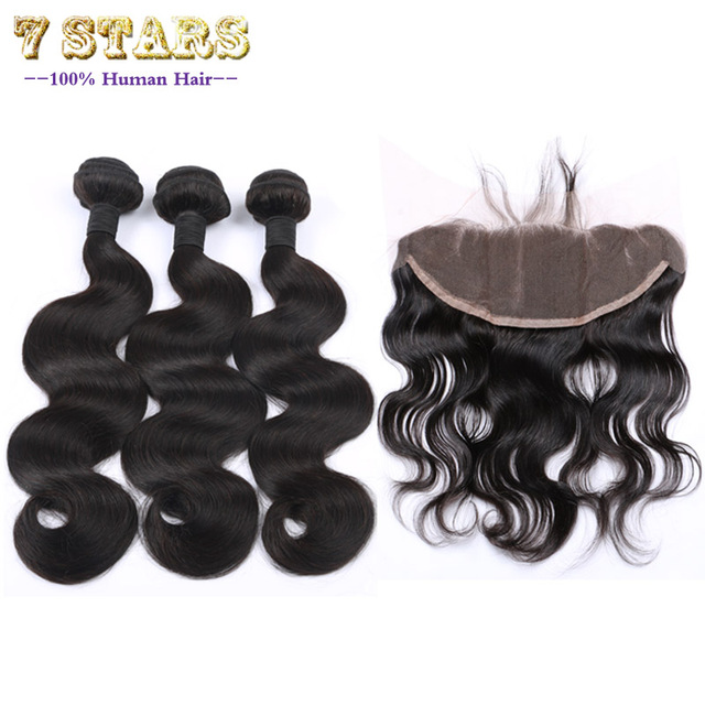 Brazilian Virgin Hair 13x4Ear to Ear Lace Frontal Closure With Bundles 7A Body Wave Human Hair Weave 3 Bundles With Lace Closure