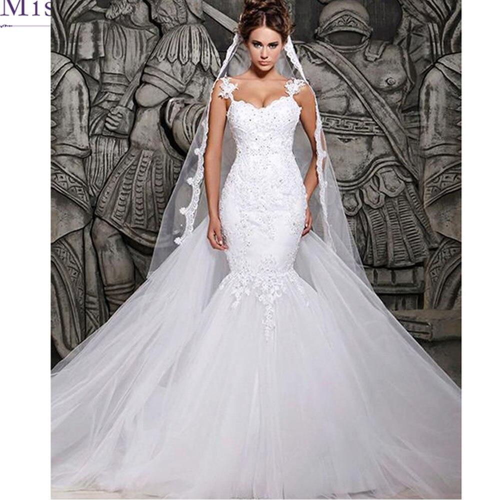 Spaghetti Strap Lace Mermaid Wedding Gowns: Vestido De Noiva Sleeveless Mermaid Wedding Dresses Lace