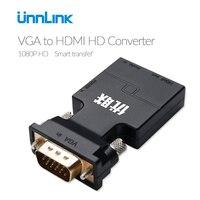 Unnlink VGA a HDMI convertidor Audio Full HD VGA a HDMI adaptador con salida de vídeo 1080 p HD para PC portátil a HDTV proyector TV