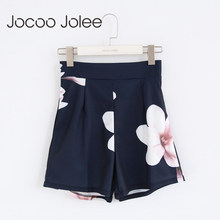 Jocoo Jolee Fashion Summer Sexy Shorts Women High Waist Zipped Flowers Printing Ladies Girls Casual Wide Leg Short Trouser(China)