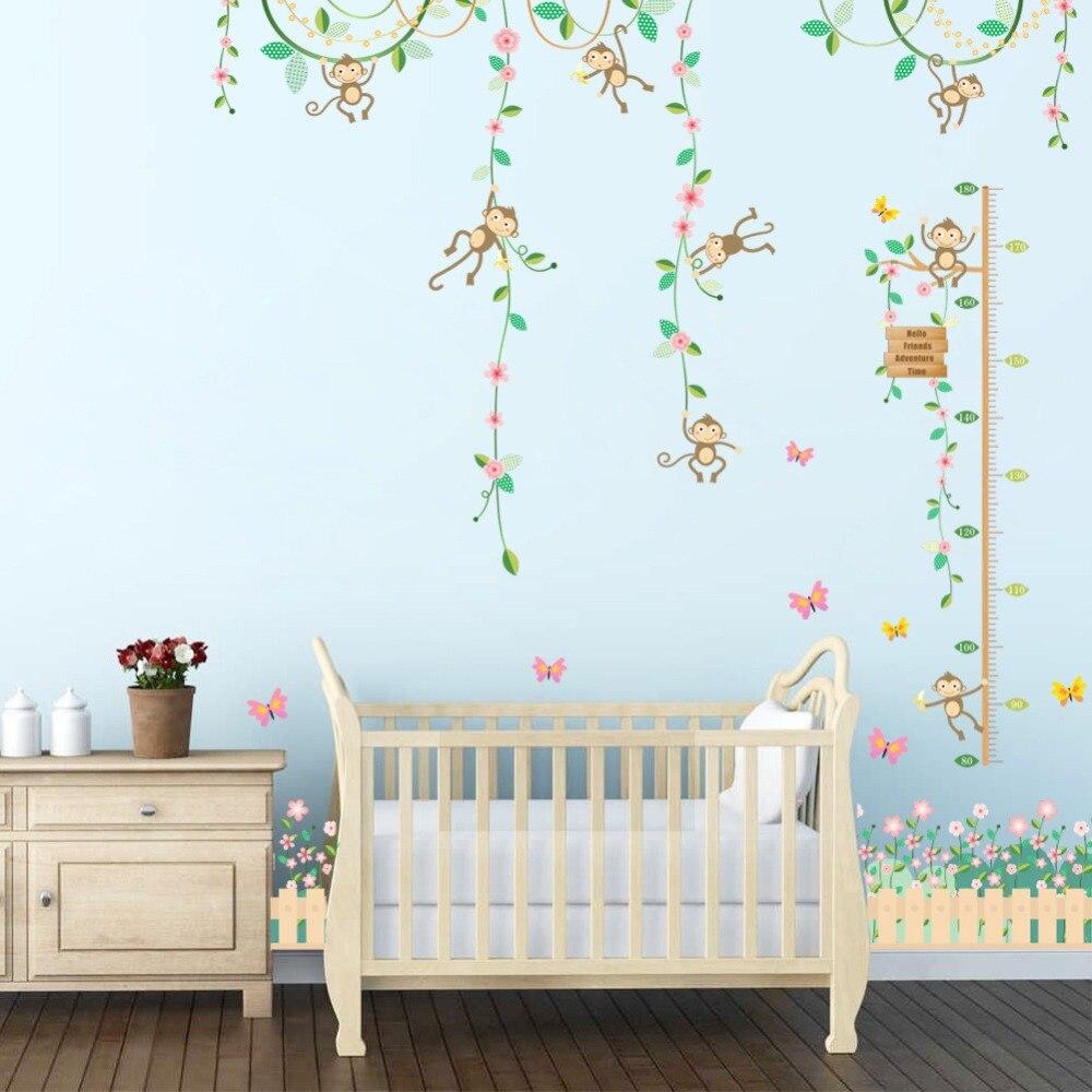 % 3D Cartoon animal monkey butterfly flower wall stickers