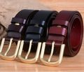 solid brass buckle for mens belts luxury  womens full grain 100% genuine leather designer belt men high quality 2017 cowgirl red