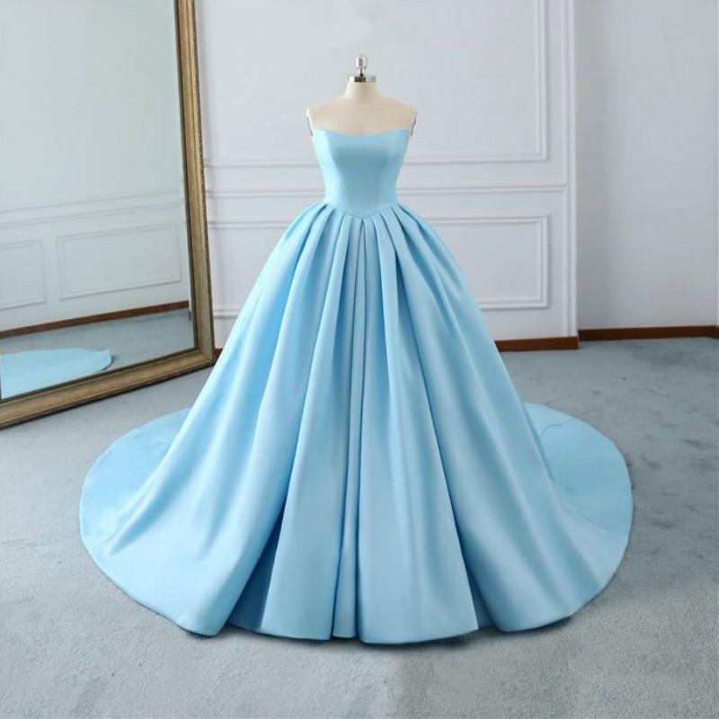 Vintage Sky Blue Strapless Backless Vestido De Festa Boda Puffy Satin Pleated A-line Maxi Wedding Dresses 2019 Robe De Marriage