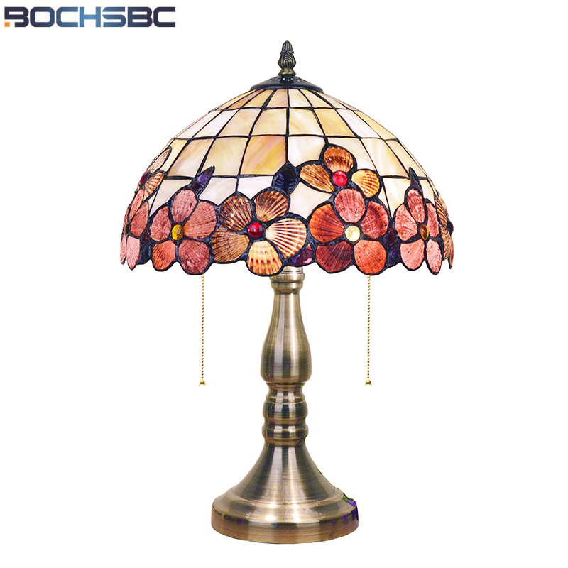 BOCHSBC Art Deco Desk Led Lamp Peony Shell Table Lights European Table Lampada da tavolo Lamp For Living Room Study Room Bedroom