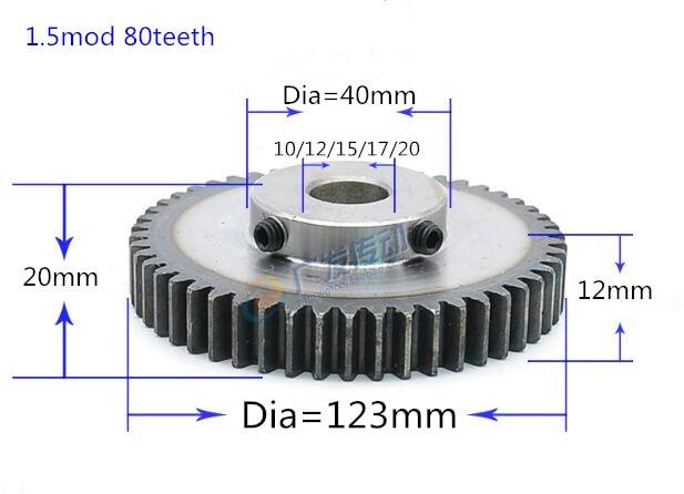 1pc Tooth quenching Spur Gear pinion 1.5M 80T 1.5 mod gear rack 80teeth bore 10-20mm spur gear precision 45 steel cnc pinion original dhk hobby 43t plastic spur gear 1pc