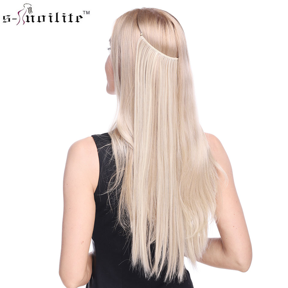 SNOILITE 20 inches Invisible Wire No Clips in Hair Extensions Secret Fish Line Hairpieces Straight real natural Synthetic
