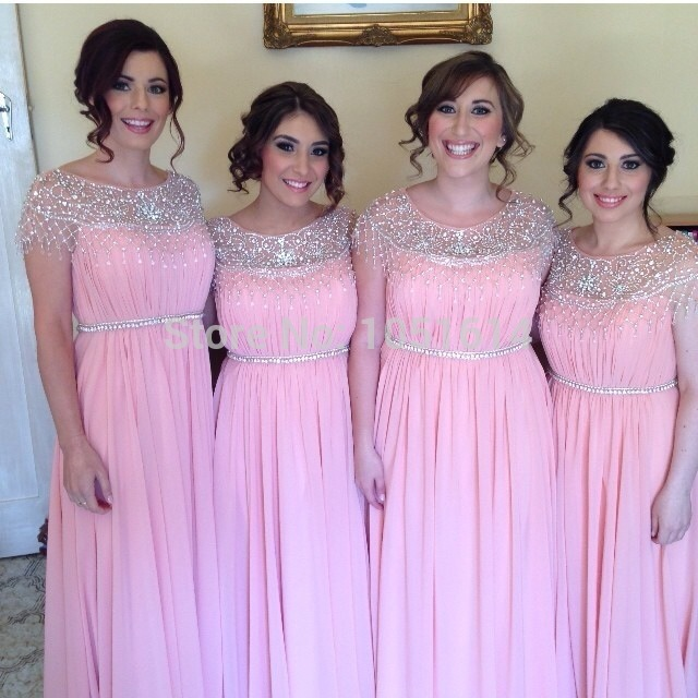 A Line Pink Chiffon Cap Sleeve Silver Beaded Crystals Collar Belt Long Maxi Bridesmaid Dress In Dresses From Weddings Events On