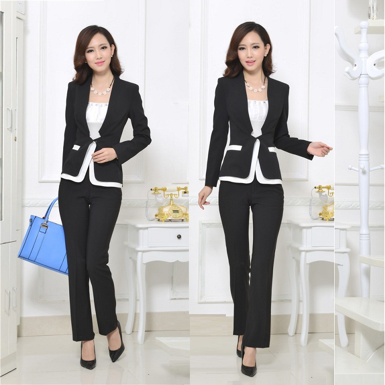 2014 new office uniform designs pantsuit women spa uniform