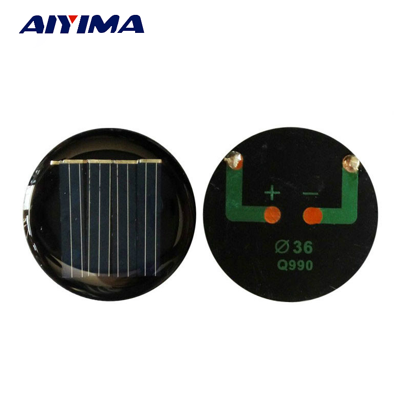 AIYIMA 10PCS Solar Panel China D 36mm Diy Solar Cell Photovoltaic Panel Modules LED Light Toys Sunpower Power Bank Solar Panel