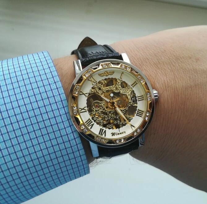 HTB1.AFgXRKw3KVjSZFOq6yrDVXaR Winner Black Golden Retro Luminous Hands Fashion Diamond Display Mens Mechanical Skeleton Wrist Watches Top Brand Luxury Clock