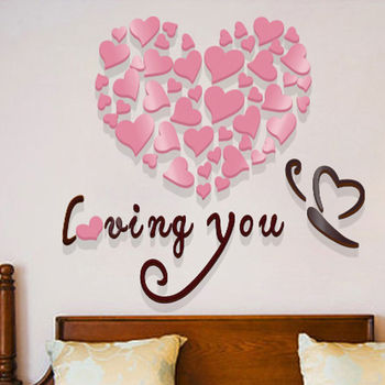 Modern DIY Acrylic Wall Stickers 3D Mirror Love Heart Home Decor Quote Flower Crystal Wall Stickers Decal Home Art Decor 9