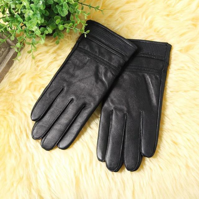 ce0bd8a7be058 En gros 2017 hiver gant en cuir véritable hommes nouvelle marque noir mode  gants de conduite