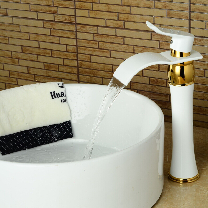 ФОТО Tall Golden Polished basin faucet swivel sink Mixer Tap Basin faucet finish Round Base white paint bathroom sink faucet