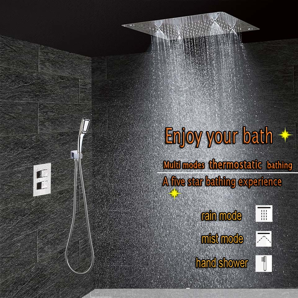 Concealed Thermostatic Shower Set Chrome Bathroom Mixer Faucet Bath ...