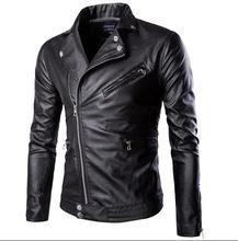 Black 2016 man motorcycle short coats slim mens faux leather jacket oblique zipper design men clothing casual outerwear M – 3XL