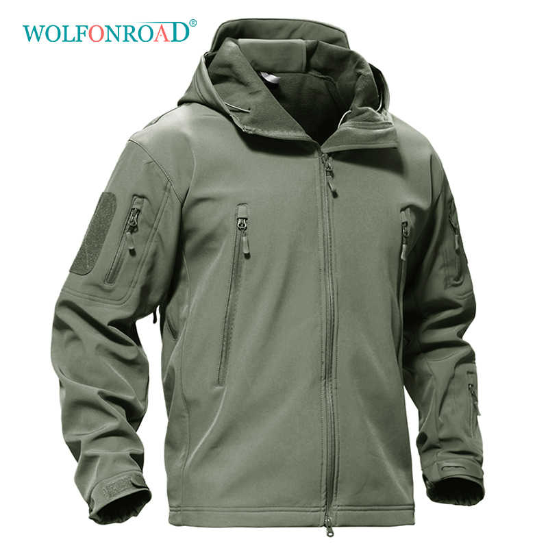 WOLFONROAD 屋外ソフトシェルジャケット防水ハイキングキャンプジャケットミリタリータクティカルハンティングジャケット冬防風ジャケット