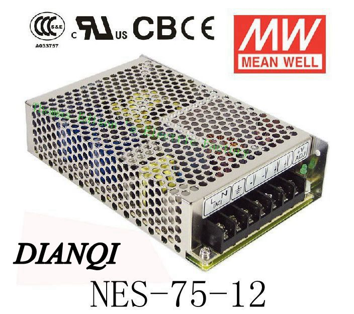 Original MEAN WELL power suply unit ac to dc power supply NES-75-12 75W 12V 6.2A MEANWELL meanwell 12v 350w ul certificated nes series switching power supply 85 264v ac to 12v dc