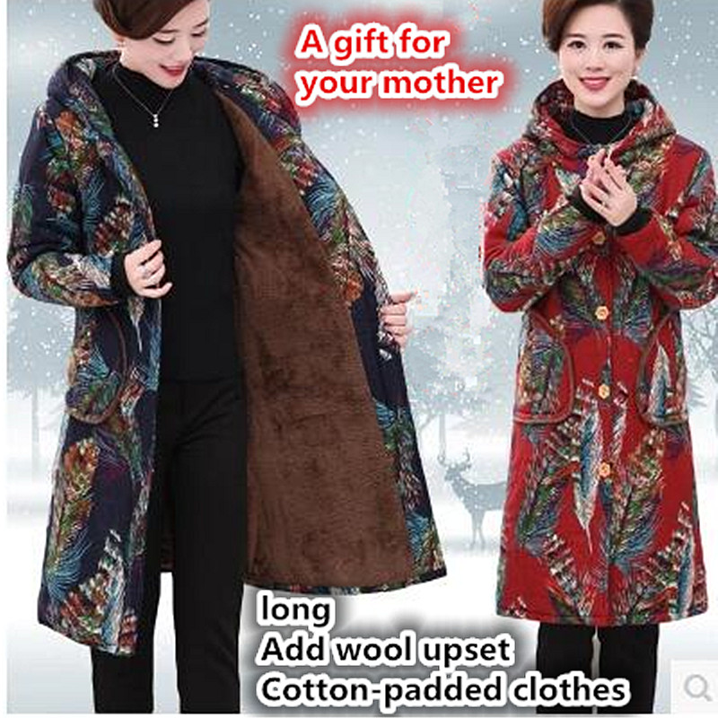 Women Winter Coat Jacket Warm mother   Parkas   plus size Overcoat High Quality Quilting Add wool Coat 2017 New Winter Collection