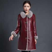 Ptslan Sheepskin Shearling Coats Fur Women Elegant Overcoats Real Mink Fur Collar Shearling Sheepskin Long Clothing