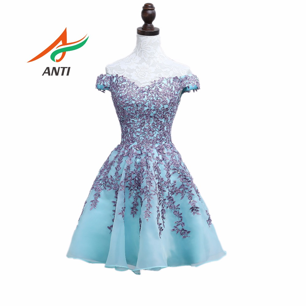 ANTI Elegant Mint   Cocktail     Dress   2018 Appliques V-Neck   Cocktail   Party Gowns Cap Sleeve Sexy Above Knee, Mini HQY049