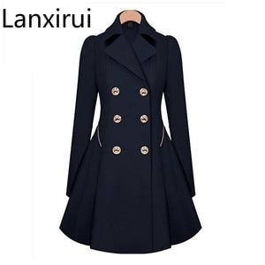 Image 1 - Trench Coat à manches longues pour femme, Trench Coat à manches longues, manteau dhiver classique à taille fine, offre spéciale