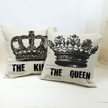 New Arrival Hot Sale Imperial Crown The King And The Queen Printed Home Textiles Cotton Linen Pillow Case Cushion Cover цена и фото
