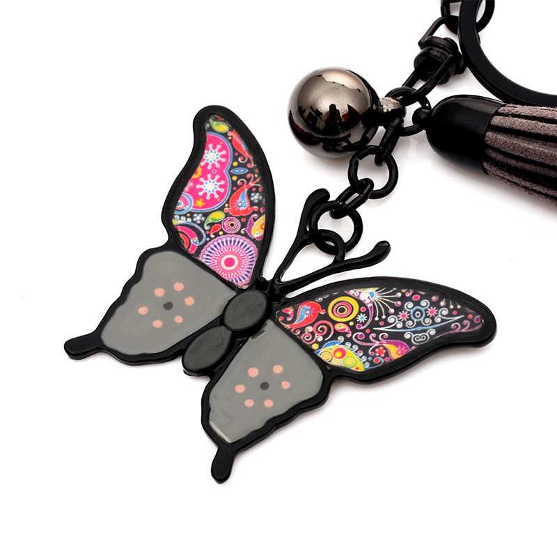 高品質合金キーホルダー chaveiro ドロップオイル釉リトル黒蝶女性ガールブラックガンメッキキーリング
