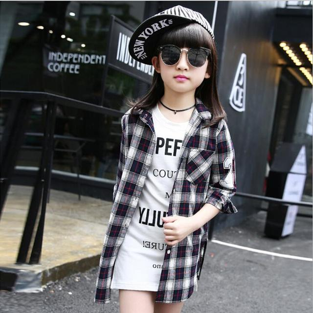 Детская рубашка от Han Edition рубашка с длинными рукавами коллекция 2016 года модная клетчатая рубашка с отложным воротником для отдыха блузы
