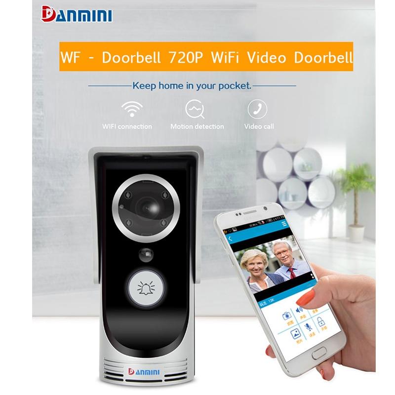 DANMINI Sonnette Sans Fil HD 720 P WIFI Vidéo Sonnette Nuit Vision Deux-way Audio Porte Vidéo Interphone Caméra Accueil utiliser