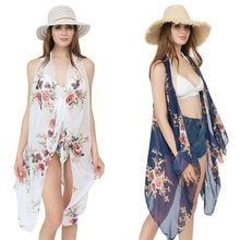Women Travel Holiday Vest Style Shawl Bikini Cover Up Bohemian Large Floral Printed Wrap Skirt Cardigan Asymmetric Hem Sarong Ca цены