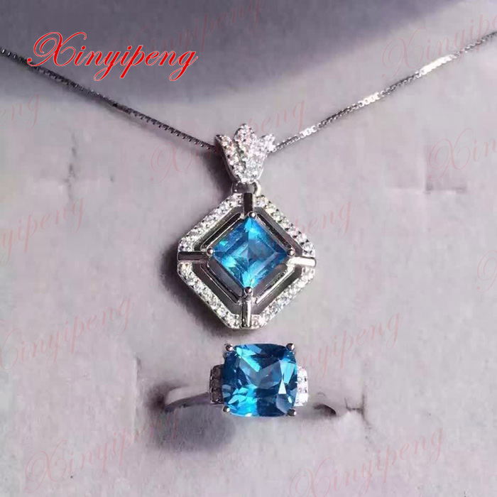 925 sterling silver with 100% natural Topaz stone set women Blue crystal Colored gems термокружка gems 470ml blue topaz 1907 77