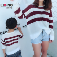 Spring A Loose Sweater with Long Sleeves and Thin Sleeves Mom and Son Matching Clothes