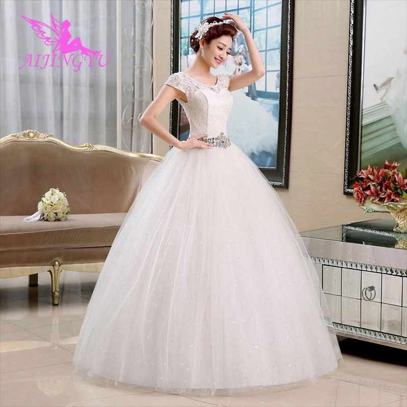 AIJINGYU 2018 Sexy Free Shipping New Hot Selling Cheap Ball Gown Lace Up Back Formal Bride Dresses Wedding Dress WU184