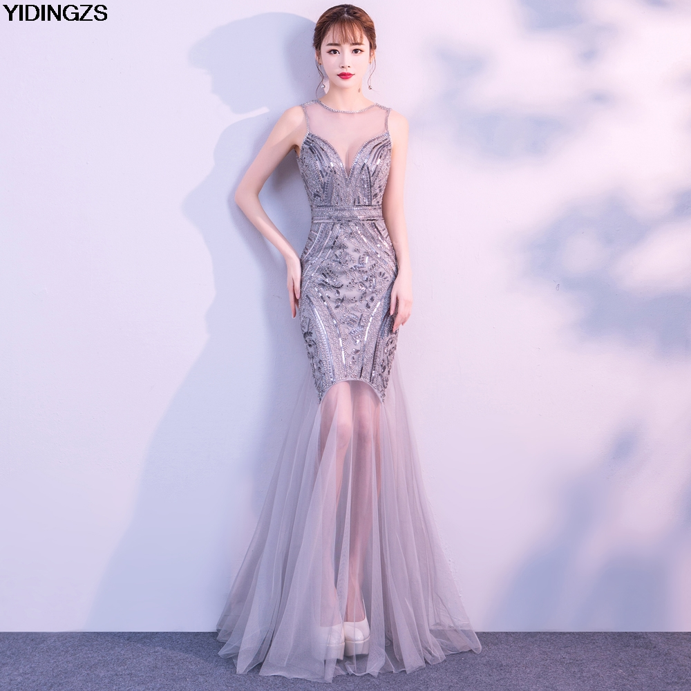Robe De Soiree YIDINGZS Sequins Beading Evening Dresses Mermaid Long Formal Prom Party Dress 2019 New Style(China)