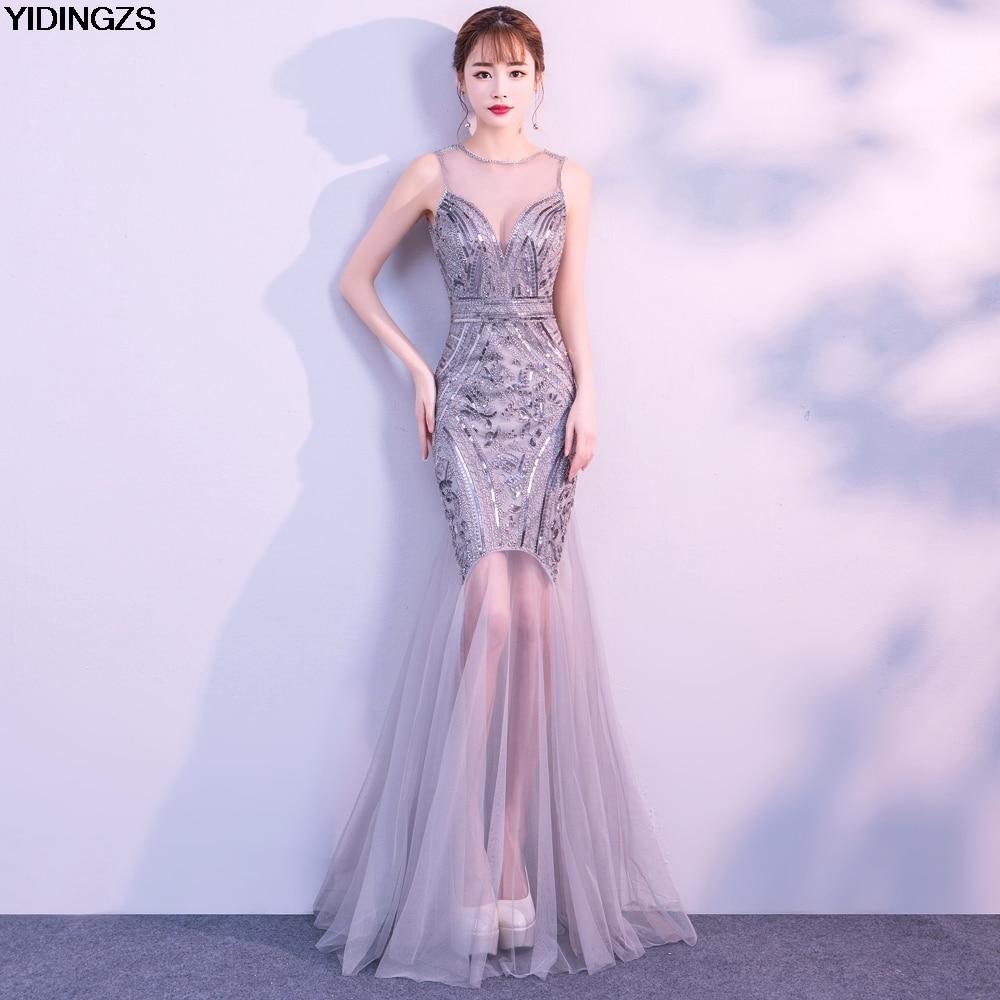 4f48f01768e4 Robe De Soiree YIDINGZS Pailletten Perlen Abendkleider Meerjungfrau Lange  Formale Prom Party Kleid 2019 Neue Stil
