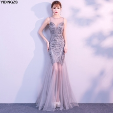 Robe De Soirée YIDINGZS Lantejoulas Beading Vestidos Sereia Longo Formal Partido Prom Dress 2019 New Style(China)