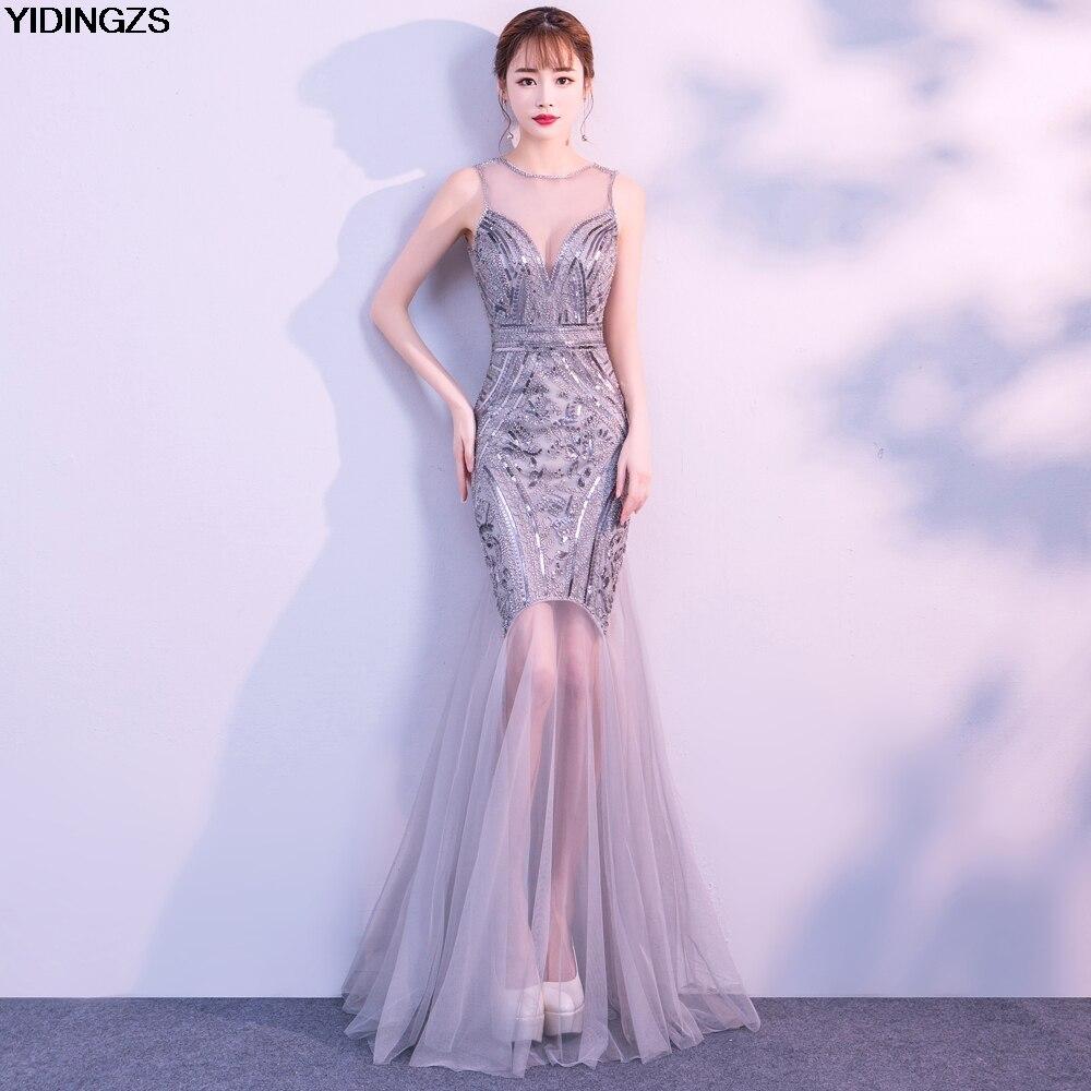 Vestido De velada YIDINGZS lentejuelas cordón vestidos De noche largo sirena Formal Prom vestido De fiesta nuevo estilo 2019