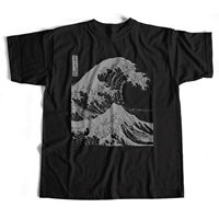 Old Skool Hooligans Hokusai T Shirt The Great Wave Black Mono Print Japan Art summer o neck tee, free shipping cheap tee