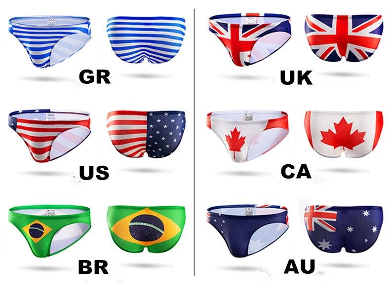 15b9e40ce6254 BR CA AU UK US Flag Mens Swim Briefs Sexy Gay Mens Swimwear Bikini ...